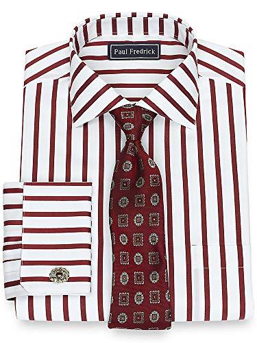 - Paul Fredrick Men's Slim Fit Cotton Satin Stripe Mitered French Cuff Dress Shirt Burgundy 15.5/32