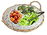 Glass Relish Dish Buffet Server in Wicker Tray, 3-section Serving Platter for Vegetables, Dips, and Snack with S/S Serving Tong