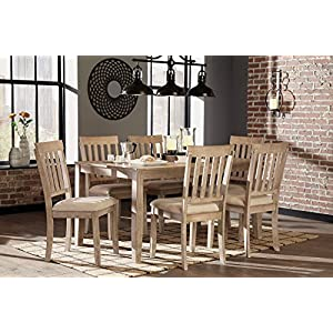 FurnitureMaxx 7 PC Mallitoni Casual White Wash Gray Color Dining Room Table Set, Table And 6 Chairs