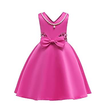 b65210b1b0eb9 YuanDiann Girls Kids Sequin Party Dress Sleeveless Bow Knot Artificial Pearl  Spring Summer Occasion Formal Birthday