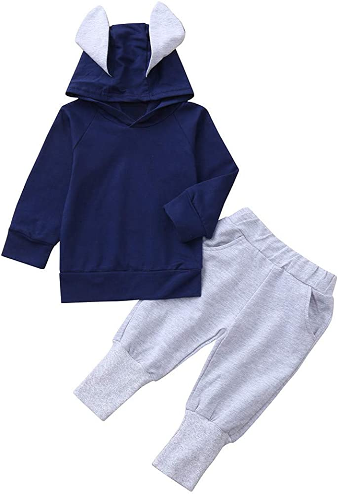 Toddler Long Sleeve Solid Rabbit Ears Hooded Tops Coat+Pants Sets Willsa Baby Girls Jacket