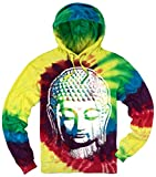 Mens Big Buddha Head Tie Dye Hoodie, Large Michaelangelo
