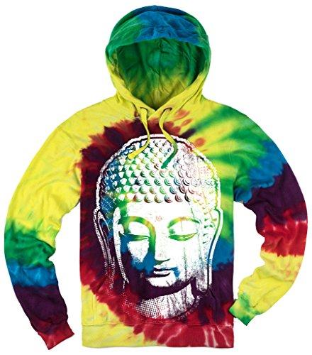 Mens Big Buddha Head Tie Dye Hoodie, Large Michaelangelo