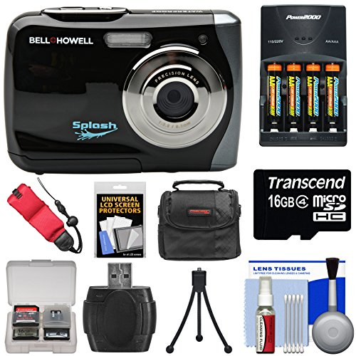 Bell & Howell Splash WP7 Waterproof Digital Camera (Black) with Batteries & Charger + 16GB Card + Case + Kit by Bell + Howell