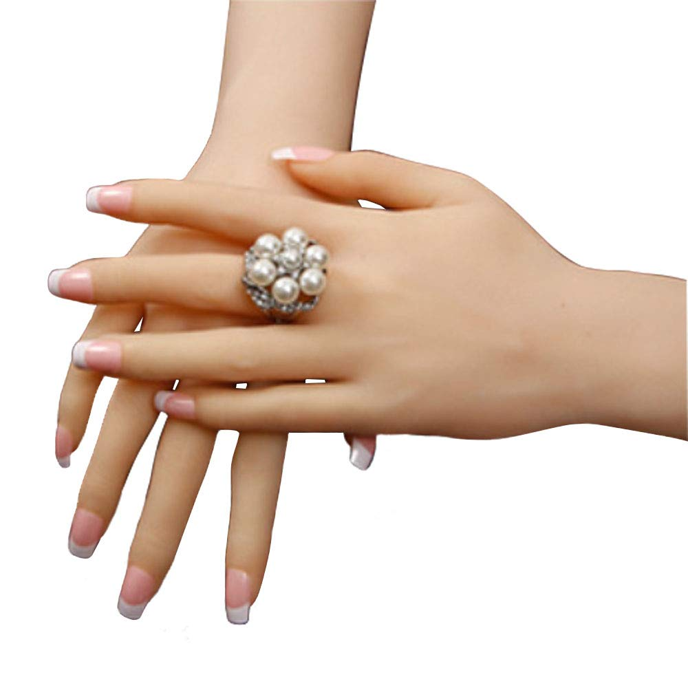 Sunny Rain 1 Pair Silicone Female Hand Mannequin Dummy Arbitrarily-bent Posed Soft Does Woman's Hand not contain nails