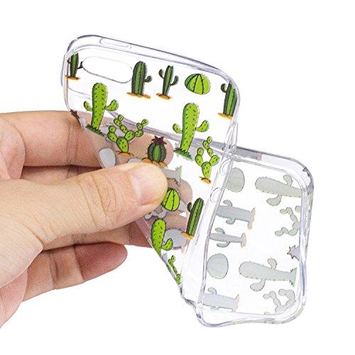 iPhone 5 5S / SE Coque Cactus vert Premium Gel TPU Souple Silicone Transparent Clair Bumper Protection Housse Arrière Étui Pour Apple iPhone 5 5S / SE + Deux cadeau