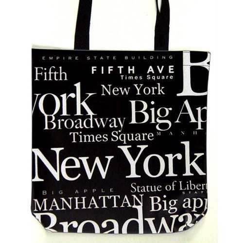 New York Black and White Canvas 100% Cotton New York City Tote Bag Souvenir
