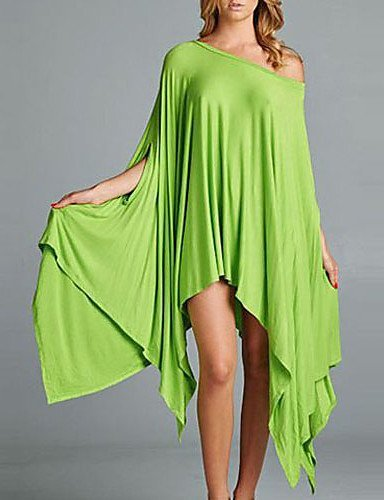 GSP-Damen Kleid - Ausgehöhlt Midi Elasthan / Polyester ½ Länge Ärmel Geschlitzter Ausschnitt