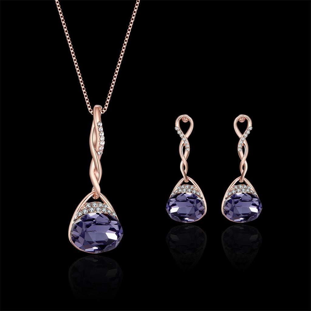 Elegant Crystal Pendant Necklace Teardrop Long Earrings Wedding Charm Jewelry Cnebo Amethyst Necklace and Earrings Jewelry Set Best Gift for Mothers Day
