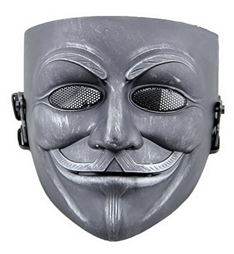 [XCOSER Masquerade Anonymous V Mask Props for Halloween Costume Resin Silver with Black] (Anonymous Man Costume)
