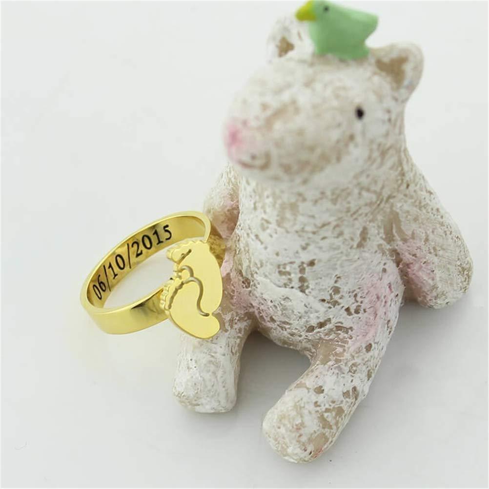 Yandam Custom Baby Foot Ring Custom Engraving Name or Birthday Ring