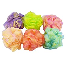 Set of 6 - High Quality Mesh Shower Sponges / Exfoliation Body Puffs / Bath Scrubbers, Assorted Colors, (50g/pc)