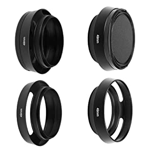 SIOTI Camera Standard Hollow Vented Metal Lens Hood with Cleaning Cloth and Lens Cap Compatible with Leica/Fuji/Nikon/Canon/Samsung Standard Thread Lens (Color: Standard Vented, Tamaño: 49mm)