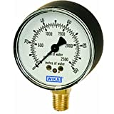 WIKA 9851810 Capsule Low Pressure Gauge, Dry-Filled, Copper Alloy Wetted Parts, 2-1/2
