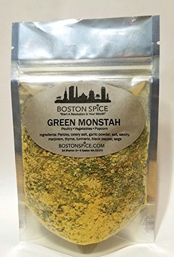 Boston Spice Green Monstah Monster Herbal Seasoning Blend For Popcorn Poultry Vegetables (Approximately 1 cup (8oz volume))