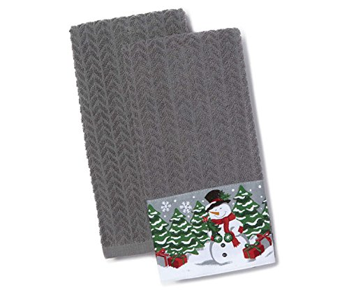 Traditions Collection Snowman Sentiment Sweater Kitchen Towels, 2-Pack