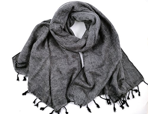 """Fair Fashion Trade (EXCLUSIVE - COOL TRADE WINDS SOFT - """" YAK """" SHAWL WARM AND SOFT BLANKET SCARF: - a luxurious 190cm x 85cm in size (Silver Grey))"""