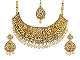 Bindhani Bollywood Bridal Wedding Indian Choker Necklace Kundan Earrings Tikka Jewelry Set for Women