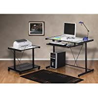 Computer Desk and Printer Cart Value Bundle,powder-coated Metal Frame with Pull-out Keyboard Shelf and Clear Tempered Glass Desktop, It Is an Ideal Large Workstation for Your Office or Home