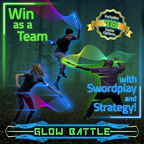Glow Battle: A Light-Up Sword Game for Groups with 10 Ways to Play - Glow-in-The-Dark, Indoor & Outdoor Active Fun for Kids, Teens and Adults -