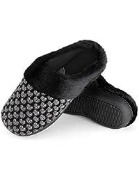 Women's Polar Fleece Memory Foam Slippers Plush Lining Slip-on Faux Fur Collar Indoor-Outdoor House Shoes