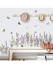 decalmile Muurtattoos Lavendel bloemen Muur hoek stickers Gras Plint Muurstickers Wanddecoratie Slaapkamer Huiskamer Kantoor Huis Decor