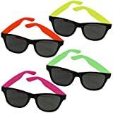 12 Pairs Of Neon Long Lasting 80's Retro Vintage Party Eyewear ,Shades ,Sunglasses For Children And Adults By Dazzling Toys