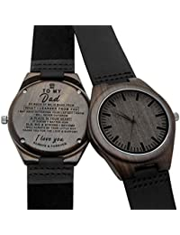 Engraved Personalized Mens Wooden Watch Lightweight Black...