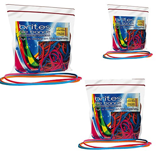 Alliance Rubber 07800 Non-Latex Brites File Bands, Colored Elastic Bands, 150 Pack (7'' x 1/8'', Assorted Bright Colors in Resealable Bag) by Alliance