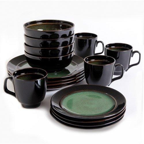 Gibson Studio Villa Mosa 16-Piece Dinnerware Set, Round - (Green Round Dish)