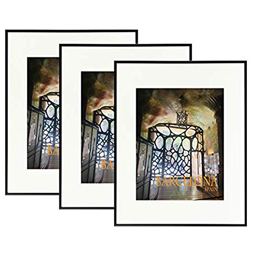 Golden State Art Set of Three, 16x20 Black Aluminum Photo Frame - Ivory Mat for 11x14 Pictures - Sawtooth Hangers, Spring Clips - Wall Mounting - Real Glass - Metal Frame (Black - Set of 3) (Metal Frame Art)