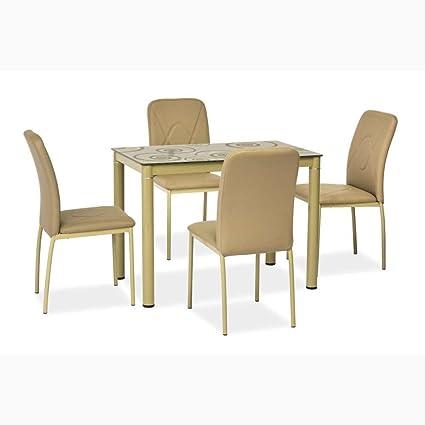 JUSTyou Damar Table de salle à manger Couleur : Beige (H ...