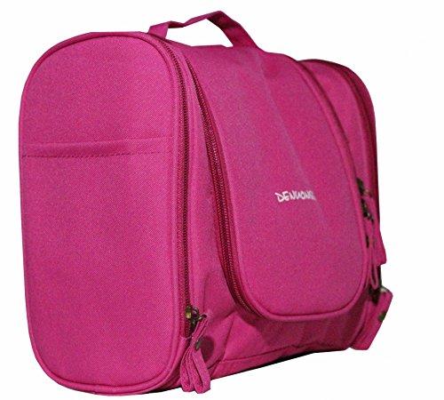 Der&Dies Kulturtasche Kosmetiktasche Schminktasche im eleganten und stylischen Design für die Damen und Mädchen oder die Reisende und Dienstreisende unterwegs(25X10X21CM) (Rosa)