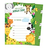Jungle Happy Birthday Invitations Invite Cards (25 Count) With Envelopes & Seal Stickers Boys Girls Kids Party