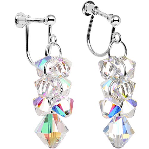(Body Candy Handcrafted 925 Silver Aurora Cascade Clip On Earrings Created with Swarovski Crystals)