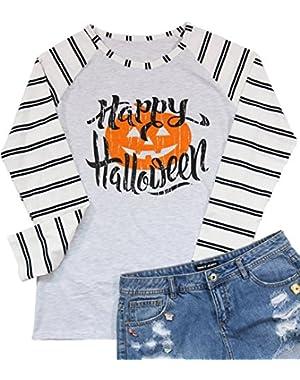 Hallp Halloween Pumpkin Baseball T-Shirt Women's Raglan Long Sleeve Top Stripe Splicing Tees