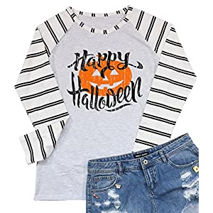 Hallp Halloween Pumpkin Baseball T-Shirt Women's Raglan Long Sleeve Top Stripe Splicing Tees