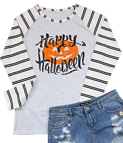 Hallp Halloween Baseball Long Sleeve T-Shirt Women's Fancy Pumpkin Face Splicing Top Tees Size XXL (Light Grey) -