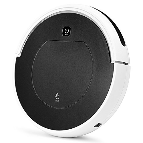 FENGRUI Robot Vacuum Cleaner Automatic Mini Strong Suction Remote Control HEPA Filter Robotic Vacuums Dog Pets Hair Hardwood Floor Surfaces 11.4x11.4x2.95 Inches (Black)
