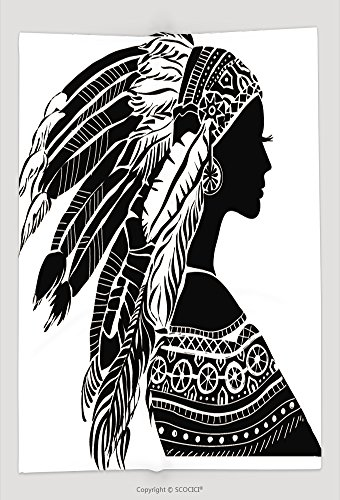 Halloween Real Housewife Costumes (Custom Throw Blanket Young Woman In Costume Of American Indian Silhouette Of Beautiful Indian Women 215508190 and)