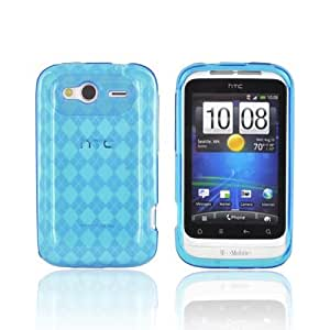 For T-Mobile HTC Wildfire S Argyle Turquoise TPU Crystal Gel Silicone Skin Case Cover