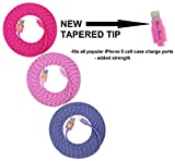 NEWLY Designed High Quality, 10ft(3m) Braided Nylon Lightning Charging Cables for Apple iPhone 5 5C 5S,iPhone 6, 6 Plus, iPad 4 Mini, iPod Touch 5/Nano 7, 8 pin to USB - (pink hot pink purple)