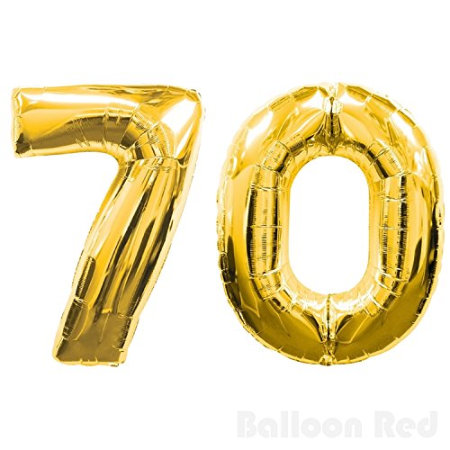 70's Disco Costumes Patterns (30 Inch Foil Mylar Balloons for Wall Decoration (Premium Quality, Air or PURE Helium Fill Only), Glossy Gold, Number 70)