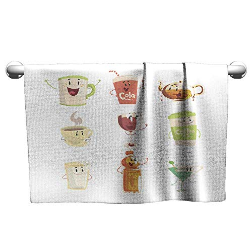 Square Towel Funny Cup Bottle Glass with Drinks Standing and Smiling Set for Label Design Cartoon Detailed Illustrations Isolated,Hanging Towel Rack for Bathroom ()