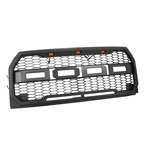 (Mophorn Front Grill for 15-17 Ford F-150 F150 Raptor Style Packaged Grille ABS Carbon Fiber Look Raptor Conversion Mesh Grille 41-0157 with Amber LED Lights (for 15-17 Ford F150))