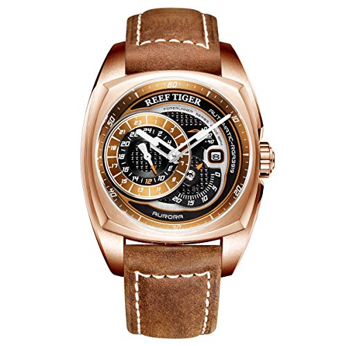 (Reef Tiger Top Brand Mens Sport Watch Rose Gold Automatic Watch Brown Leather Strap RGA3319 (RGA3319-PSS))