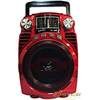 Supersonic SC-1390BT Rechargeable Speaker with AM/FM/SW1-2/Bluetooth/USB/SD/AUX Input RED