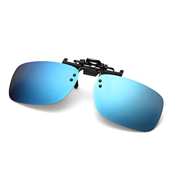 001000bd18 QHGstore Unisex Men Fashion Square Polarized Clip-On Flip Up Metal Clip  Sunglasses ice blue