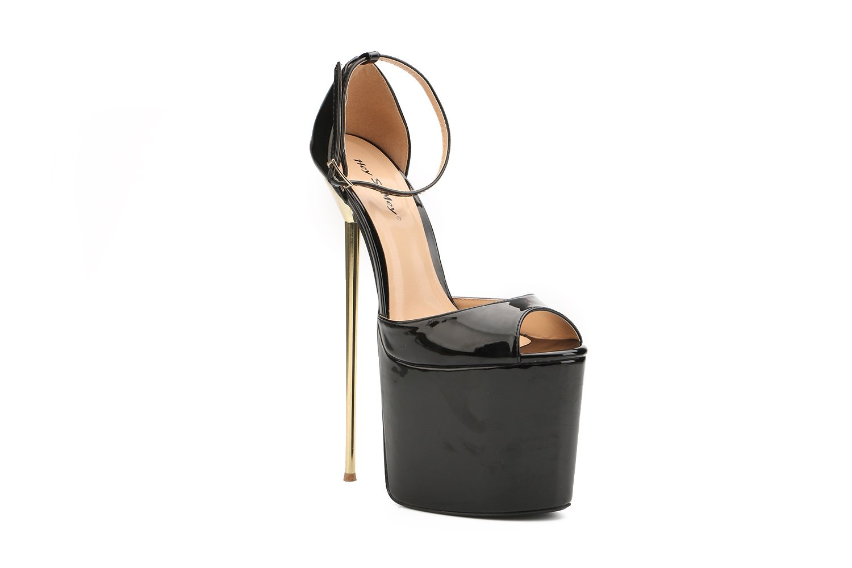 Leeminus Womens Faux Leather Peep Toe Platform Sandals with Ankle Strap B01AJPMKPS 12 B(M) US|Black