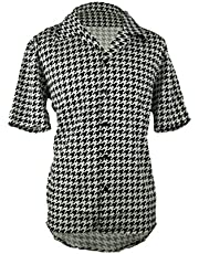 Men's Houndstooth Button Down Short Sleeve Shirt, Black and White Comfortable Lounge Shirt